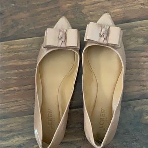 JCrew nude patent bow detailed flats
